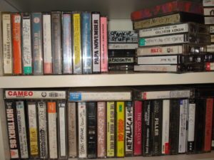 A shelf full of cassettes