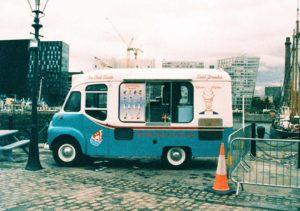 Half frame shot of the Ice Cream Van at the Albert Dock Liverpool on expired Ektachrome HC film