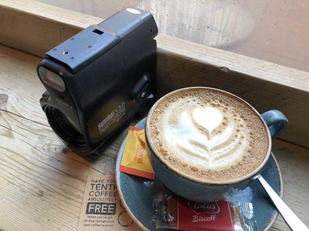 Yashica Samurai camera and a latte