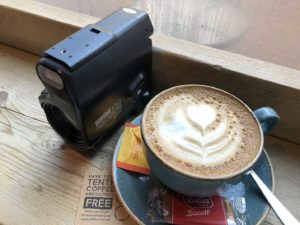 Yashica Samurai camera and a latte